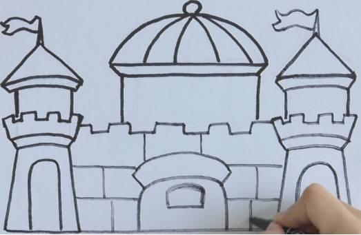 教育 正文  5,下面画上两个斜线,直线相连,里面画上一个拱门,右侧同样图片