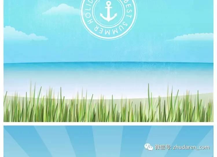 春天夏天自然风景草地海边矢量背景设计素材ai eps格式