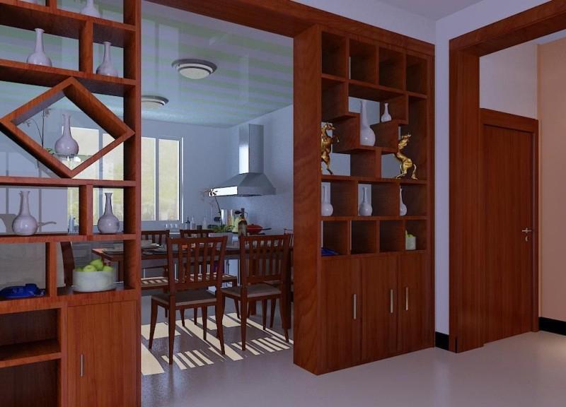 这个博古见是餐厅与厨房的隔断,透过隔断我们可以隐约看到厨房的景象.