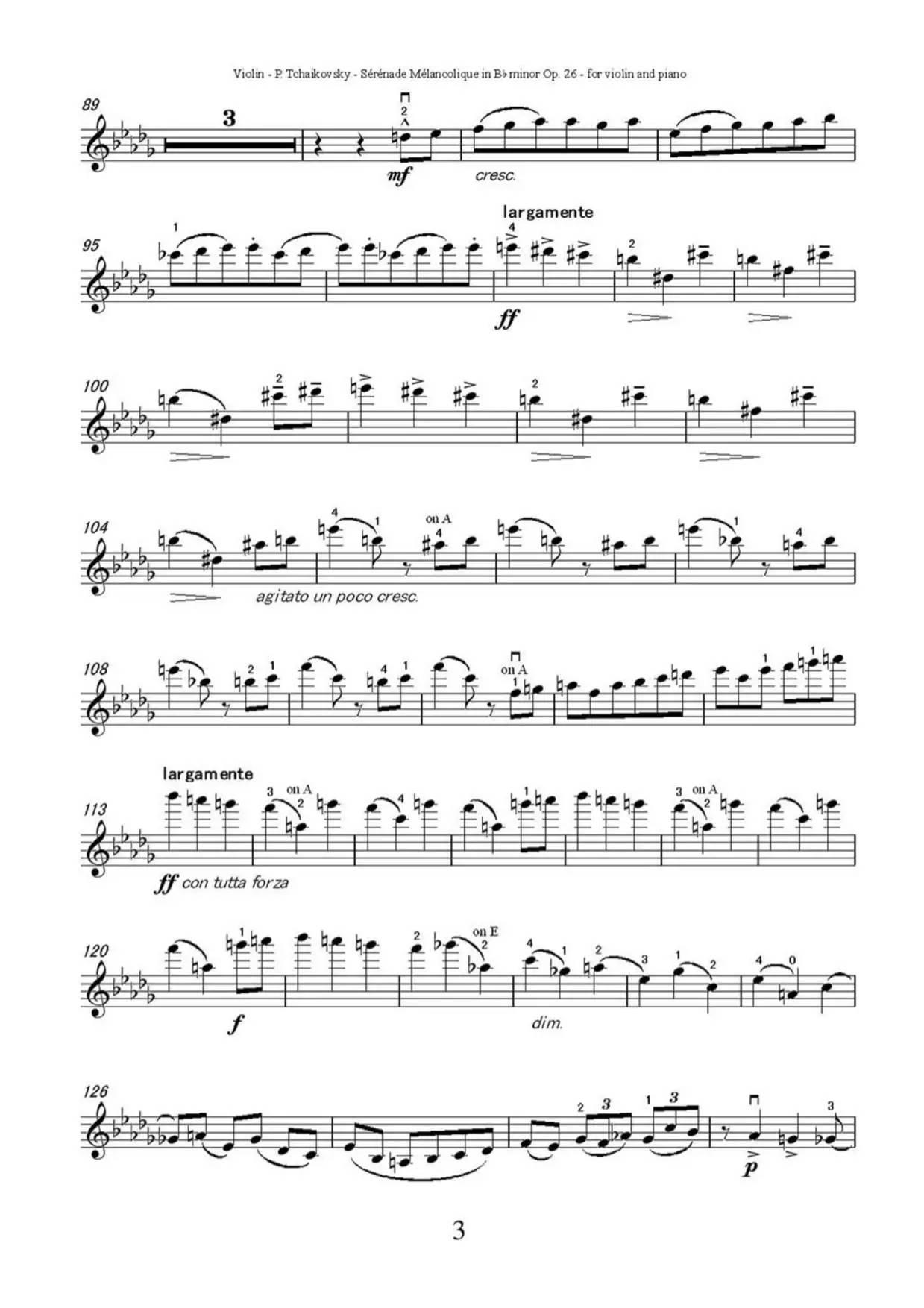 《忧郁小夜曲》附小提琴谱-柴可夫斯基曲,帕尔曼演奏