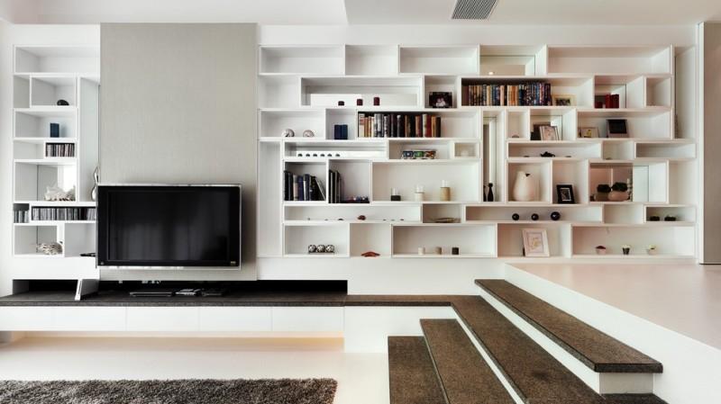 客厅一角的博古架效果图,博古架下面采用柜式的可以厨房东西,上面采用