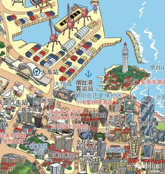 怎么能比烟台手绘地图更加有特色的呢?