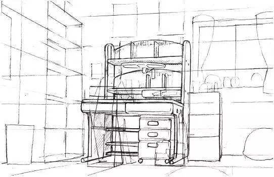 书房两点透视手绘
