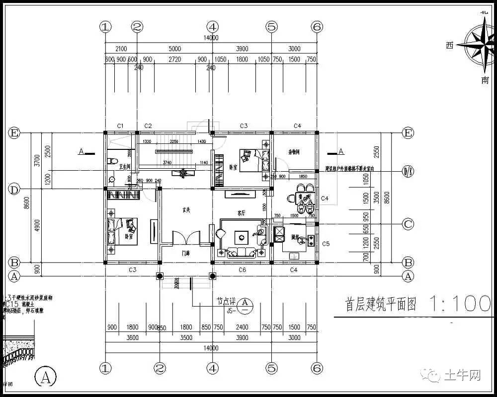 120平农村私人别墅设计图,14x9米,造价20万以内