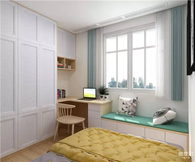 百叶衣柜,转角书桌,窗边柜一体设计, 大容量的收纳空间仿佛在时刻