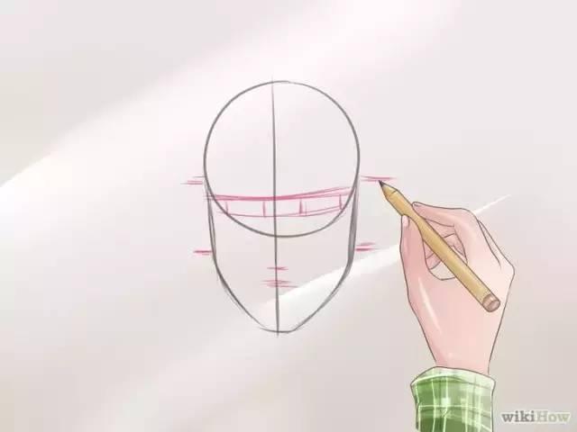 5.勾画出眼睛,鼻子,嘴巴,耳朵以及眉毛的轮廓形状.