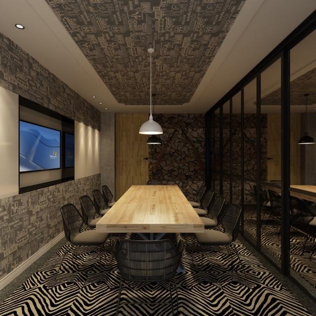 办公室内设计极简,属于老上海的护墙裙依然在,配有仿古灯,实木办公桌