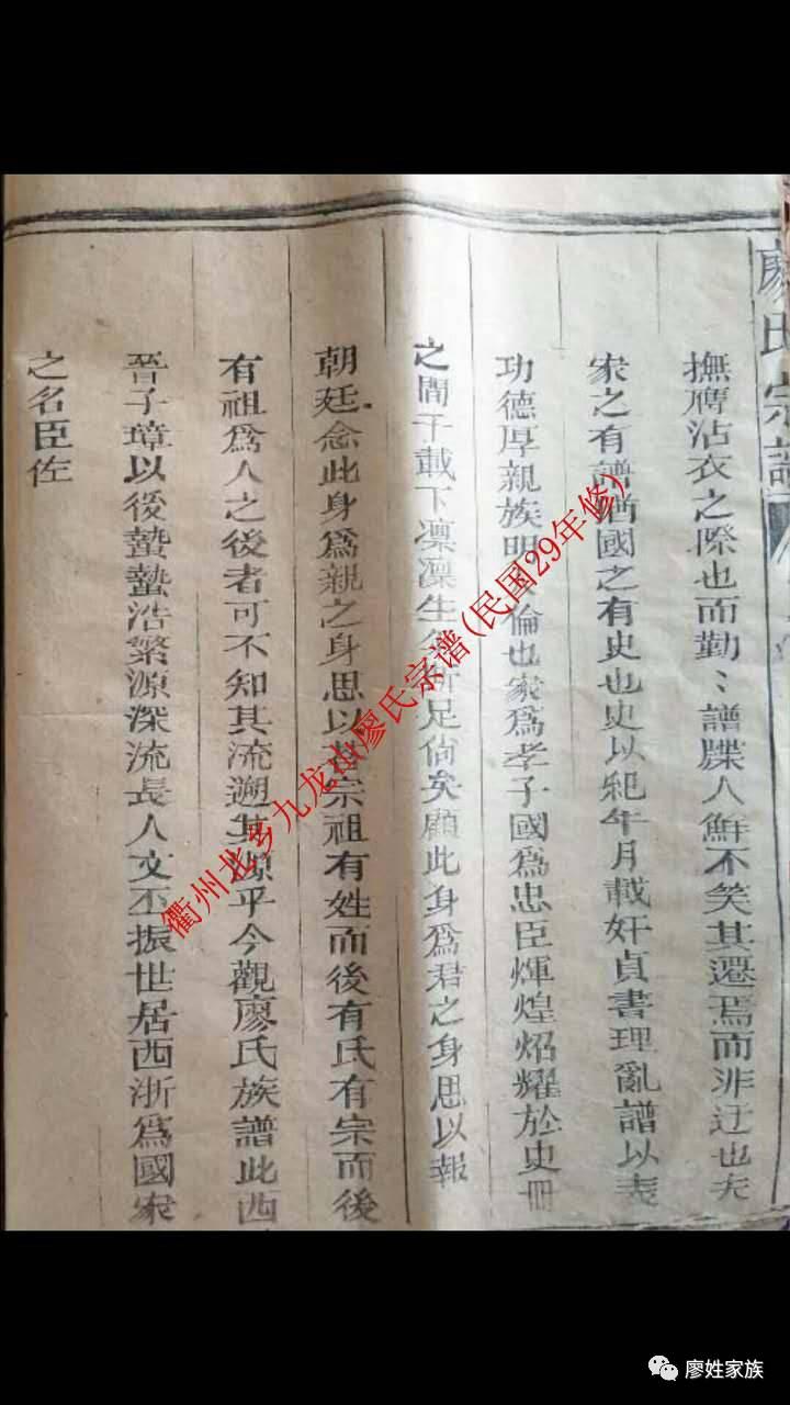 浙江卫州廖氏族谱图片
