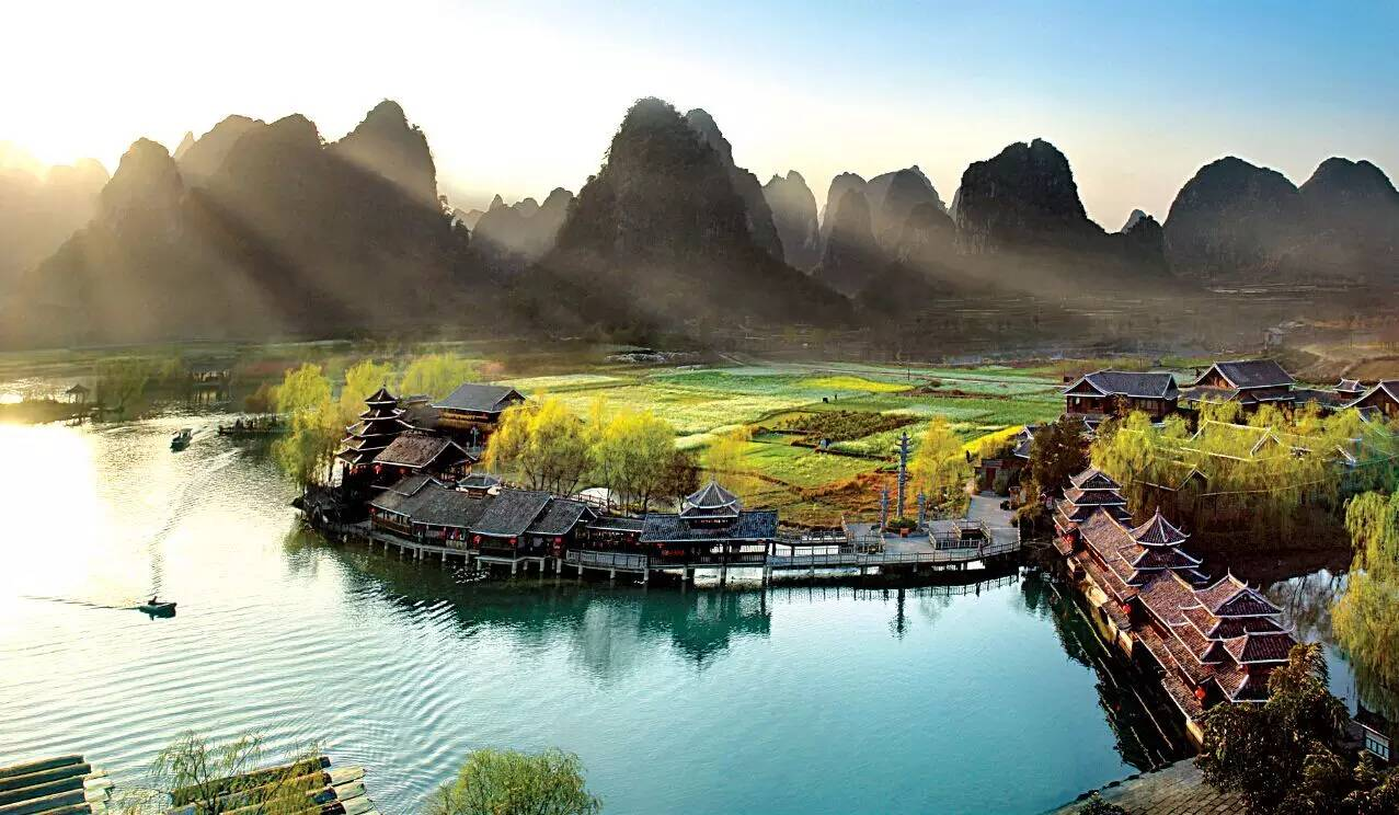 上午:【世外桃源】——世外桃源在秀美的山水田园风光中展现民族风情