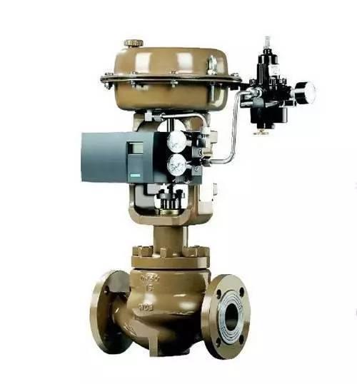 检修工厂使用的由执行机构(气动薄膜或气缸)和阀体组成的气动调节阀图片