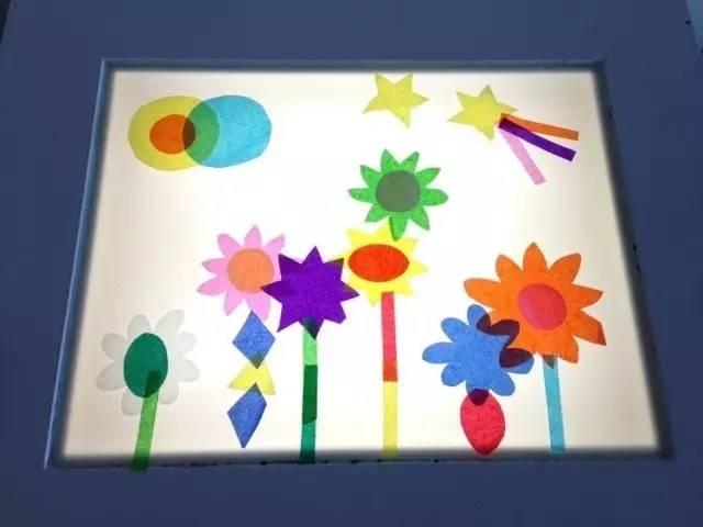 好看了.   拼贴画   彩色塑料片在灯箱上可以像万花筒一样,拼接出千