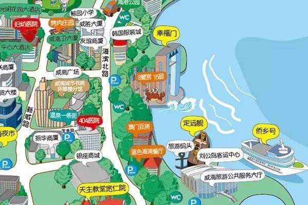 威海城区软萌旅游手绘地图来了,人手一份!