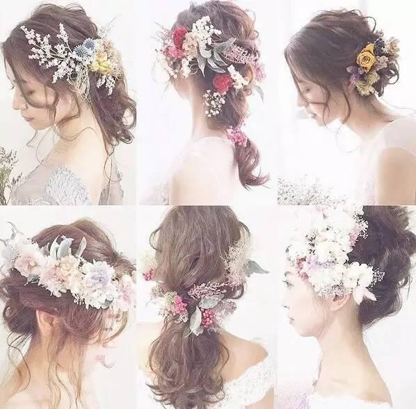 最新森系鲜花新娘发型,长发短发都能美得如此惊艳 化妆师必收图片