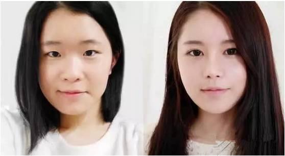 眉眼唇半永久妆与素颜对比图