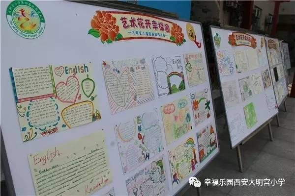 其中静态展示的是学生英语主题手抄报,三年级主题是水果与食物,四年级