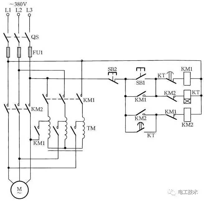 时间继电器kt按整定时间延时,电动机达到运转速度后,其常闭触点打开