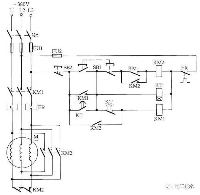 图14 用两个接触器实现Y-降压启动控制   按下启动按钮SB1,KM1、KT获电动作,KM1常开辅助触点闭合自锁,电动机绕组接成Y形降压启动。经过一段时间,KT延时断开的常闭触点断开,KM1失电释放,其常闭辅助触点闭合。同时KT延时闭合的常开触点闭合,KM2获电动作,其常闭触点打开,将Y形接线断开;其常开触点闭合,使KM1得电动作,闭合其主回路常开触点,电动机由Y形接法转换为形接法。   这种线路仅适应于功率在13kW以下形接法的小容量电动机,否则由于KM2接触器常闭辅助触点接在主电路中,容量小,