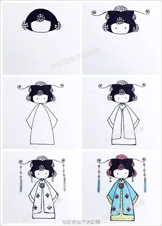 手账简笔画教程 跟美南子学画中国娃娃 美南子