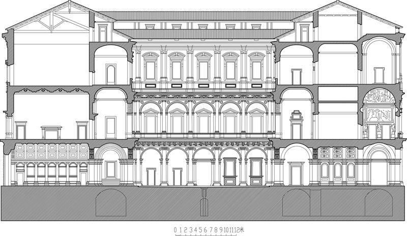 它是将拱券结构与罗马柱式相结合,从而形成券柱式的立面构图.图片