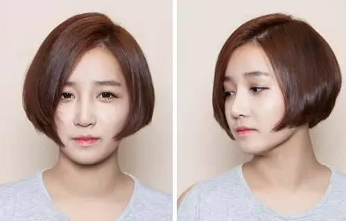 把bobo头修剪成后面短前面长的形状可以让脸看上去小一些,将头发偏分