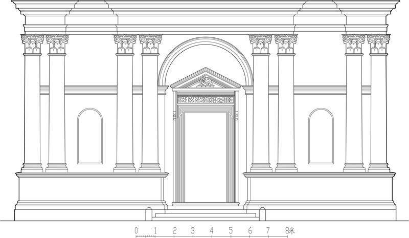也就是在用来支承拱券的墙和墩上,以柱式作装饰 ,并使券洞的直径与图片