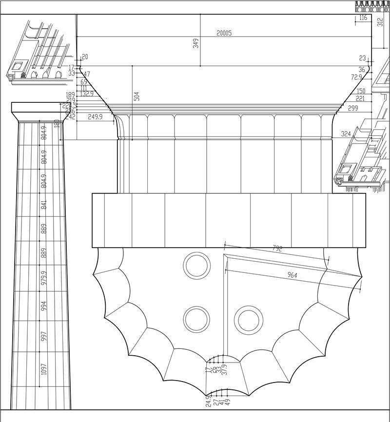 图5雅典卫城山门中多立克柱子  作者自摄 爱奥尼柱式:柱身是底径的9