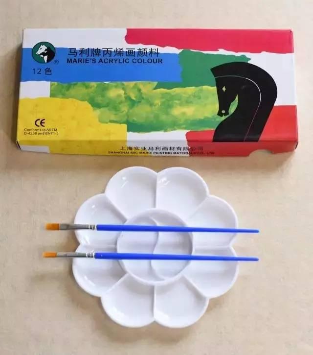 马利丙烯颜料,水彩笔,调色盘