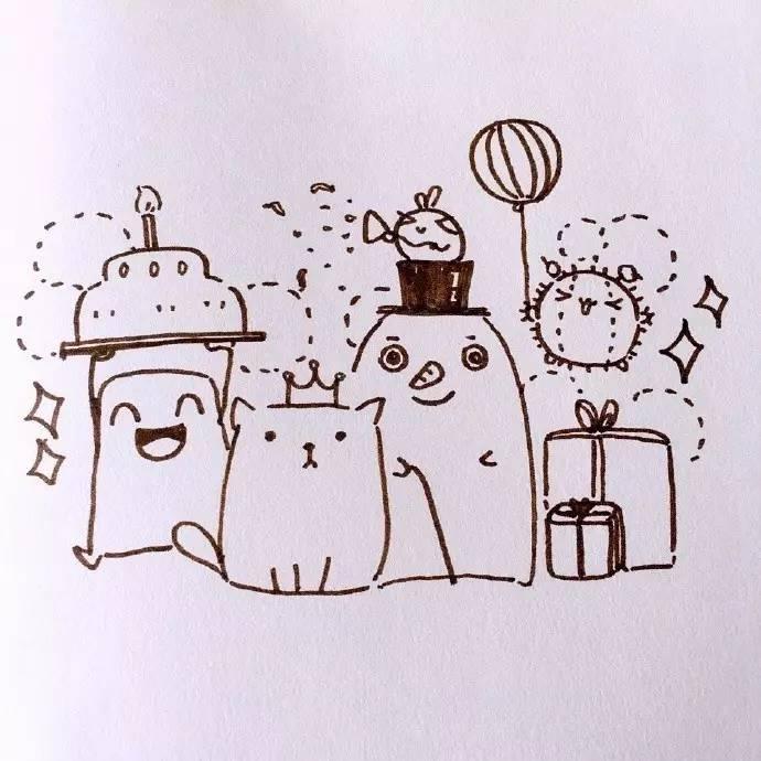 简笔画教程 | 夏日风和生日主题的手账简笔画,喜欢吗?