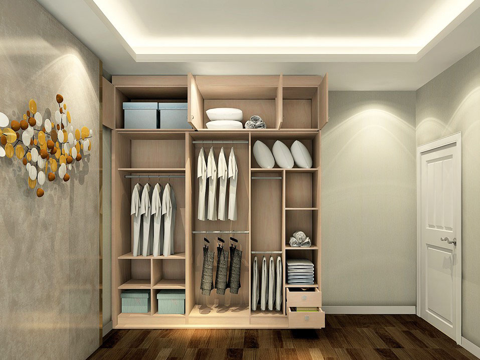 衣柜的内部结构是根据功能的不同而设计,整体空间清新简约.