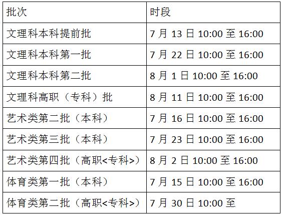 文理科高职(专科)批志愿填报时段为7月3日8:00至5日17:00.