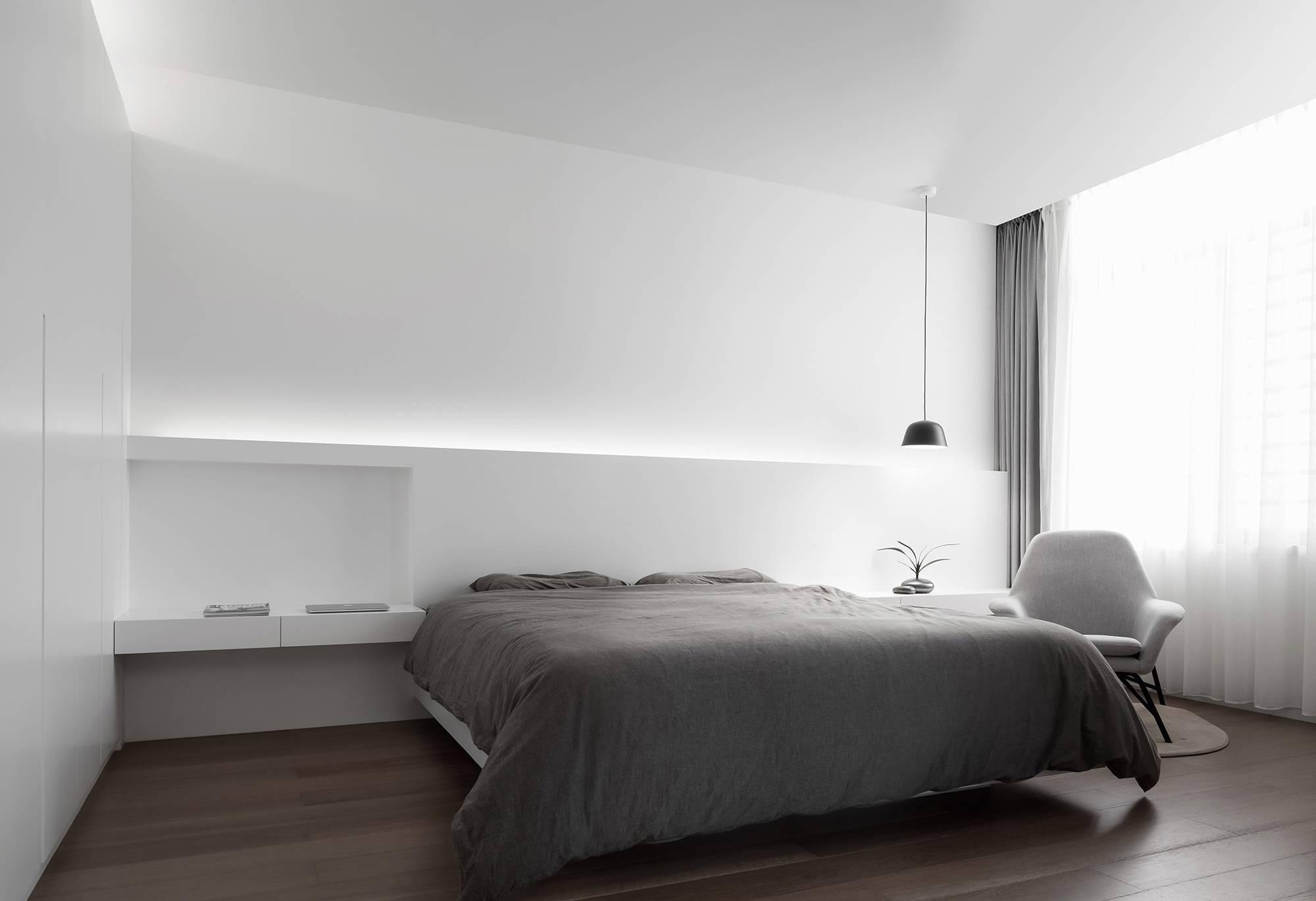 极简卧室黑白摄影白极简装修风格卧室图片2