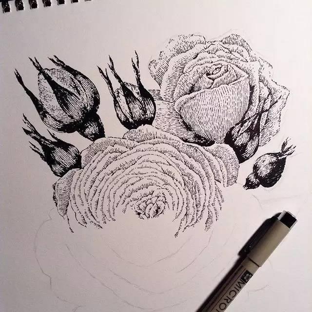 只是把动物的一部分的细节刻画的很完整 有些也用了针管笔或者油性笔