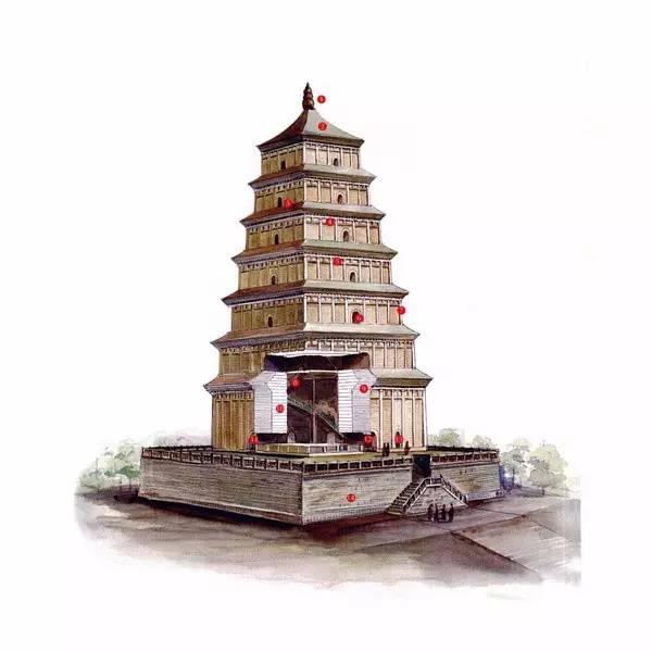 唐永徽三年创 长安年间重修 陕西西安慈恩寺大雁塔