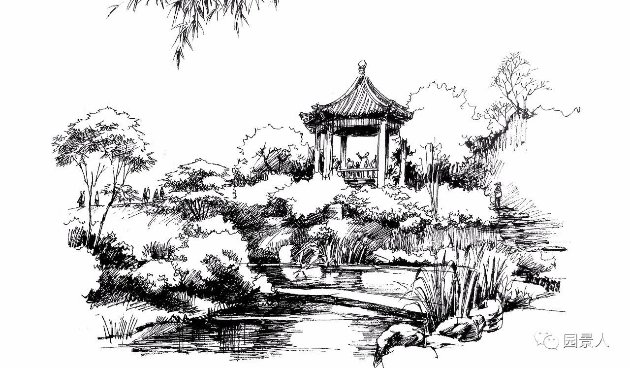 电脑手绘中国庭院