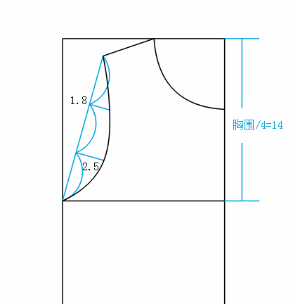 取前领方法同样画出后领宽后领深为2cm落肩到袖窿深斜线分成三等分