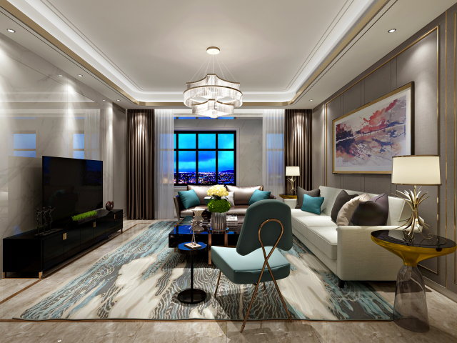 沙发背景墙采用了灰色壁纸饰面 再加上金属线条 搭配后现代主义挂画及