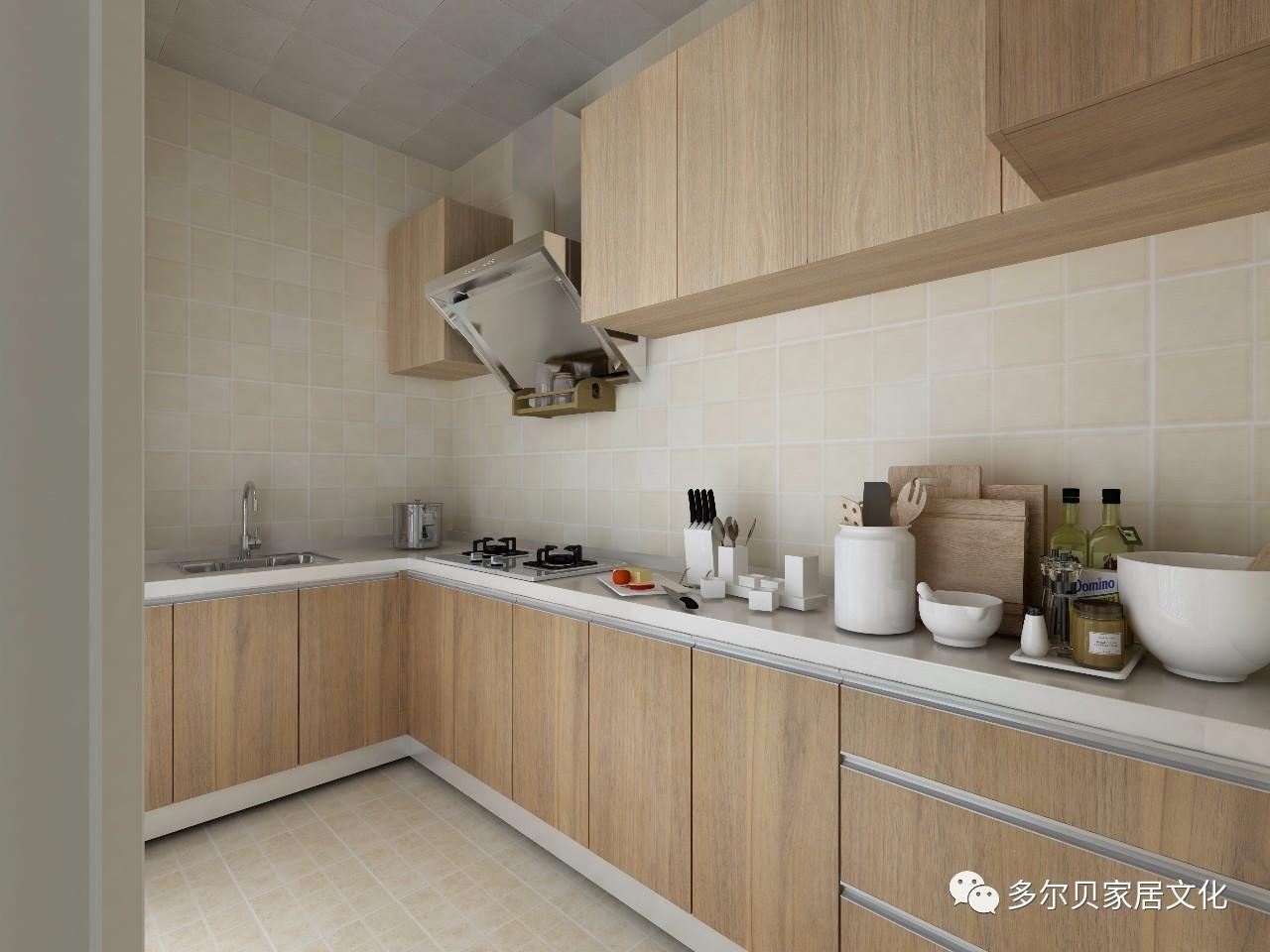 厨房空间还是统一的原木色系橱柜图片