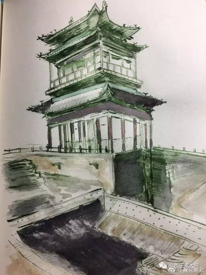 山西名胜古迹手绘图片