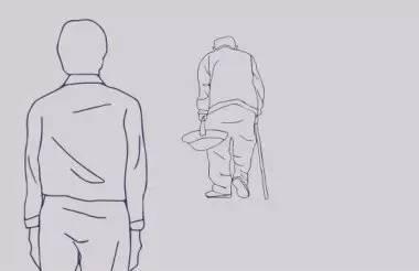 老人背影手绘线稿