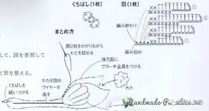 白色的钩针天鹅玩偶   图解说明