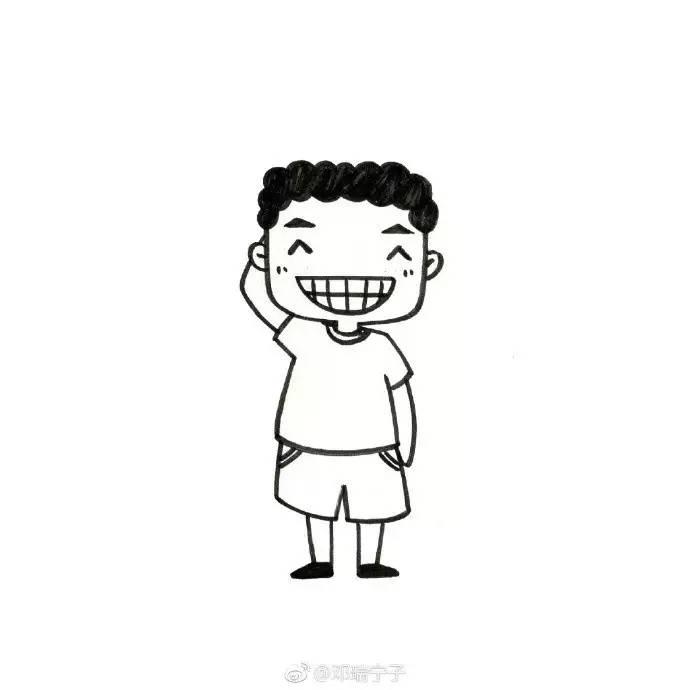 手账简笔画素材 | 九个萌萌哒黑白简笔画小人物画像(邓瑞宁子)