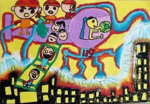 景宁的小画家们,我市第五届 我心中的消防 儿童绘画有奖竞赛正在火热进行中 快来一展身手吧