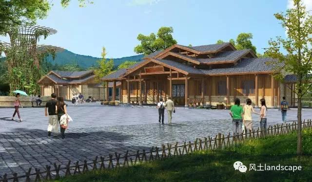游客中心和集散广场设计:集散广场设计适应场地地形变化,并采用本地