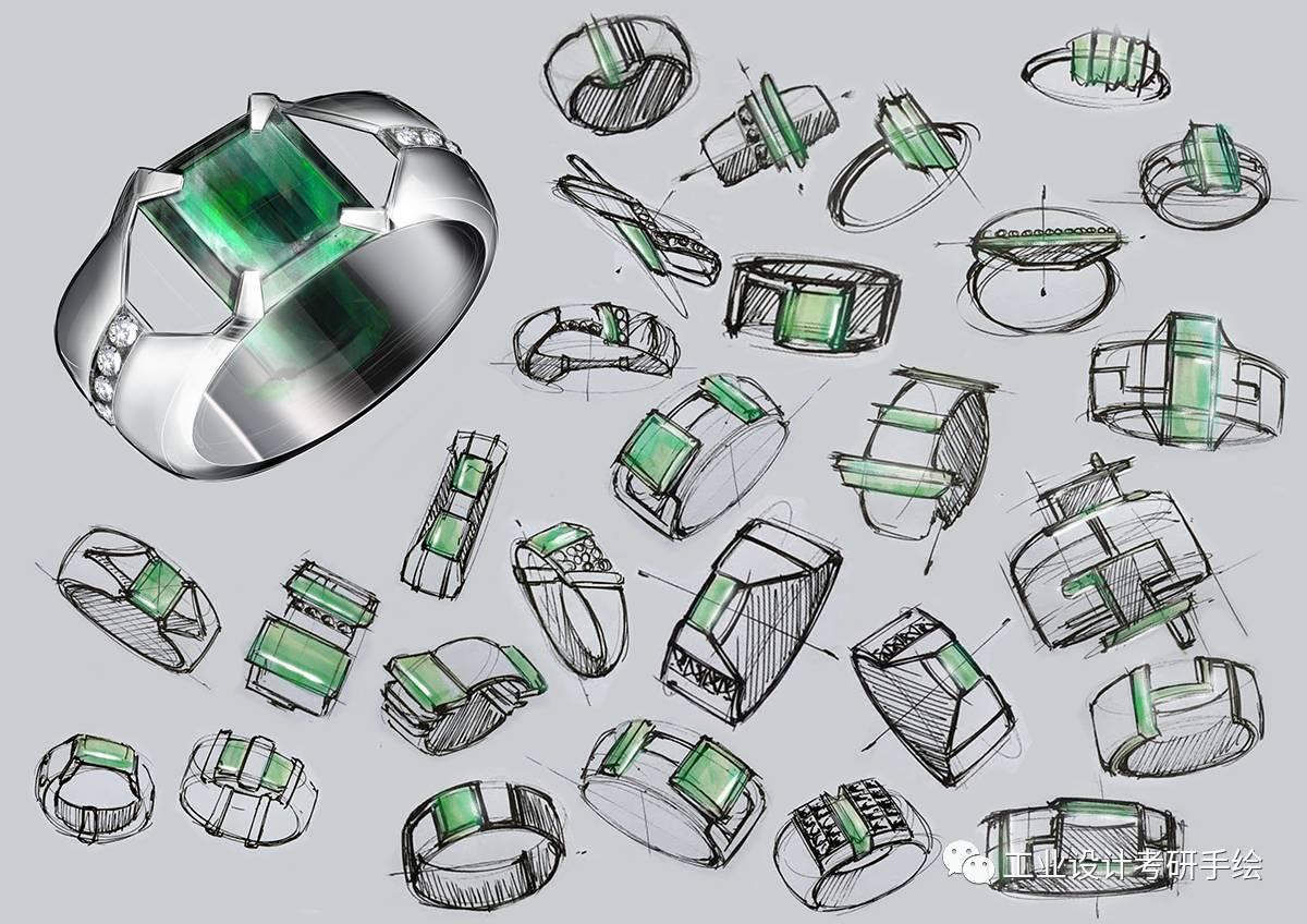 珠宝设计手绘图欣赏
