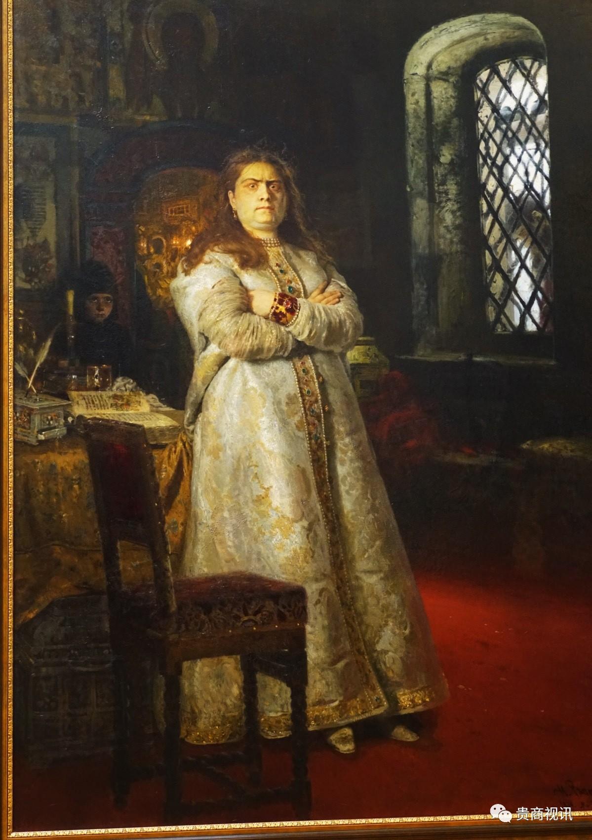 列宾的名画《索非亚公主》就精彩再现当时如笼中猛狮般愤怒的索非亚公主  《索菲亚公主》又名《1698年的索菲娅公主》,这是索菲娅公主最为人所知的一副画像,画中的她身材粗壮、满脸横肉、表情愤怒,因被弟弟彼得一世囚禁而愤怒无比却又无可奈何。评论普遍认为,这并不是一副真实反映索菲娅公主的现实主义作品,因为此画创作于1879年,据她去世已有近80多年。