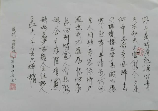 苏轼 水调歌头 作品尺寸:42cm*30cm 作品类别:书法 作品形式:硬笔书法图片