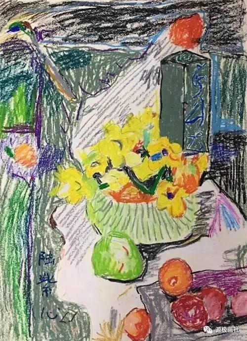 文化 正文  这是一群四年级孩子,用丹可林重彩油画棒写生也就个把个月图片