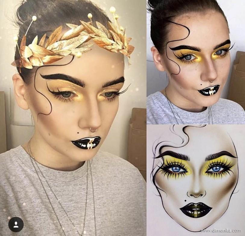 妆面效果图,又叫面部高彩设计图.