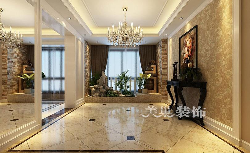 本案效果为港式风格,客厅以黄色为主调,展现一个休闲的氛围,电视墙图片