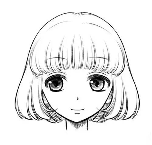 手绘头像女生冷酷短发